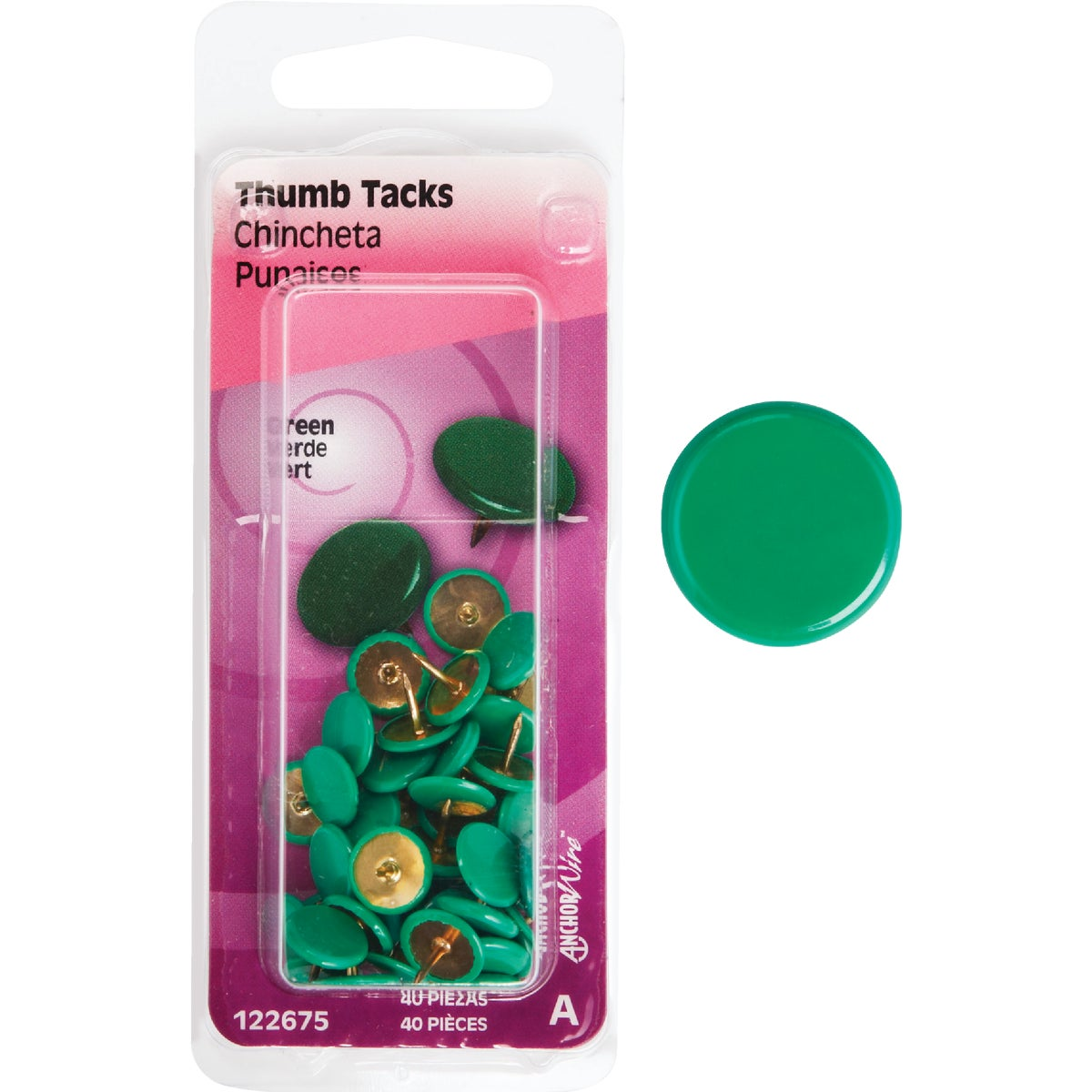 40PC GREEN THUMB TACK - 122675 by Hillman Fastener