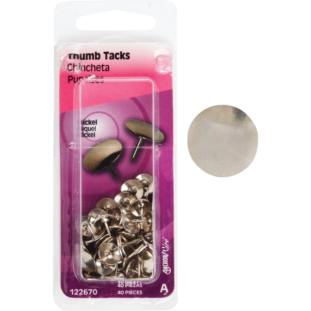 40PC NICKEL THUMB TACK - 122670 by Hillman Fastener