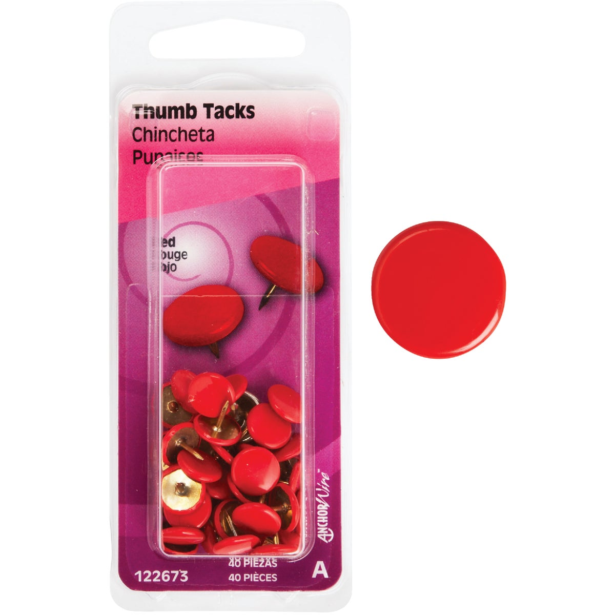40PC RED THUMB TACK - 122673 by Hillman Fastener