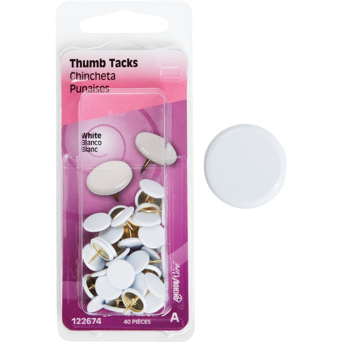 40PC WHITE THUMB TACK - 122674 by Hillman Fastener
