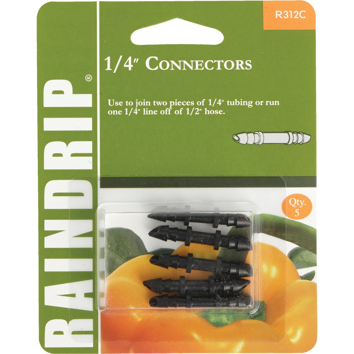 "1/4"" BARBED CONNECTOR - R312CT by Raindrip Inc"