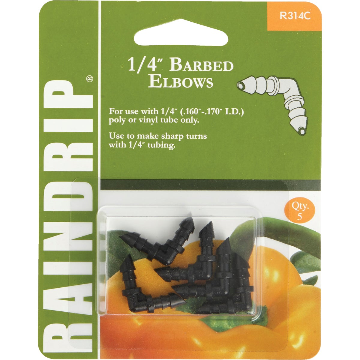 "1/4"" DOUBLE BARBED ELBOW - R314CT by Raindrip Inc"