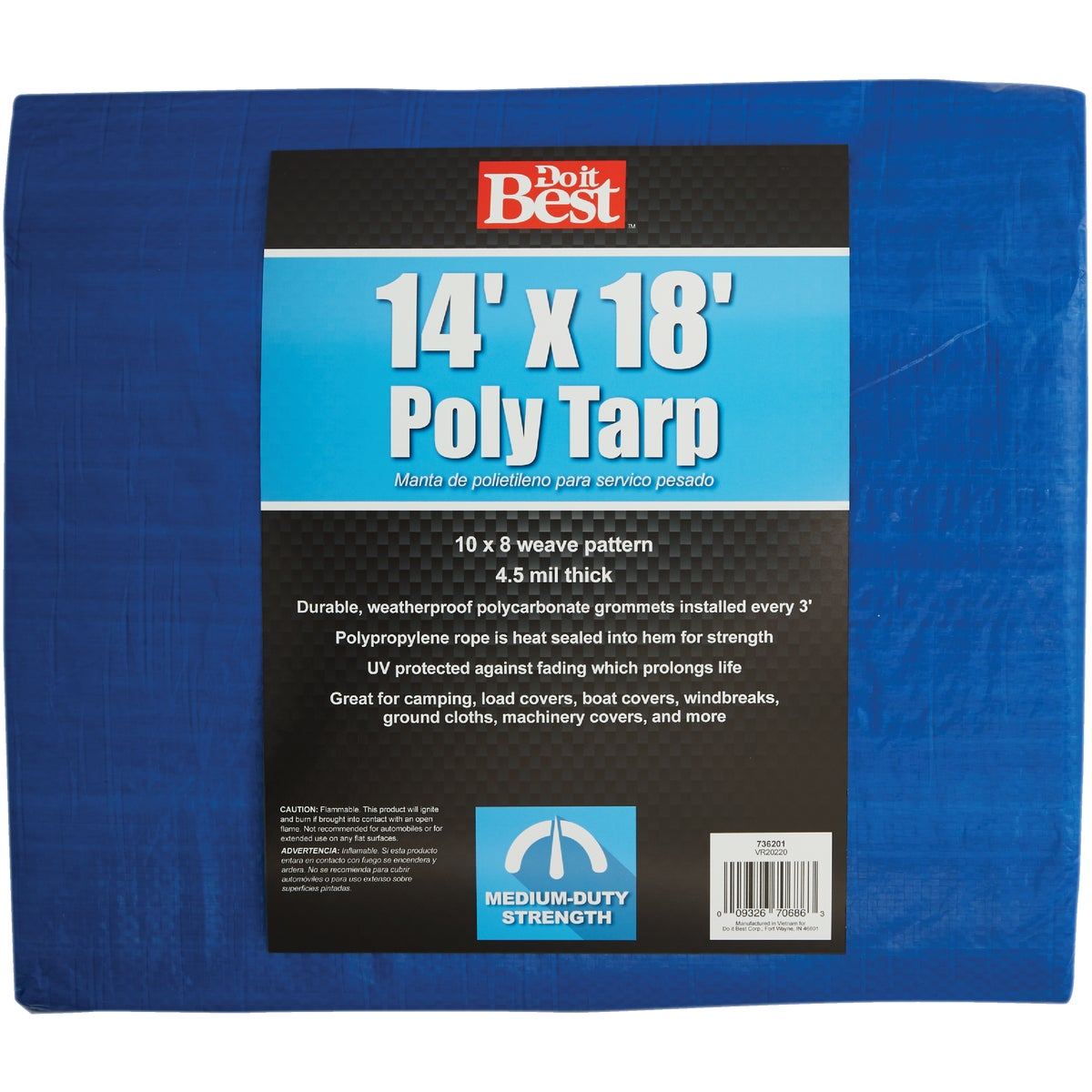 14X18 BLUE MED DUTY TARP - 736201 by Do it Best