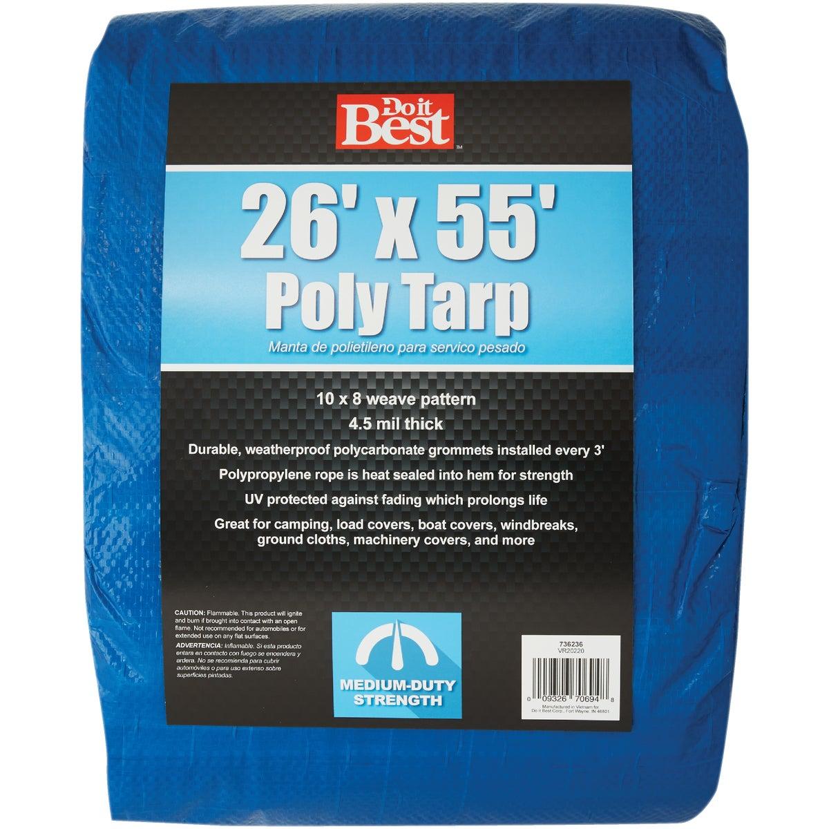 26X55 BLUE MED DUTY TARP
