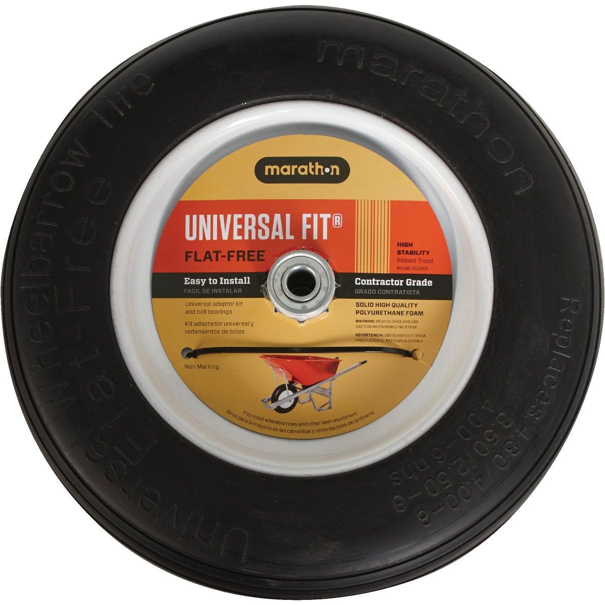 Marathon Universal Flat Free Wheelbarrow Wheel, 265