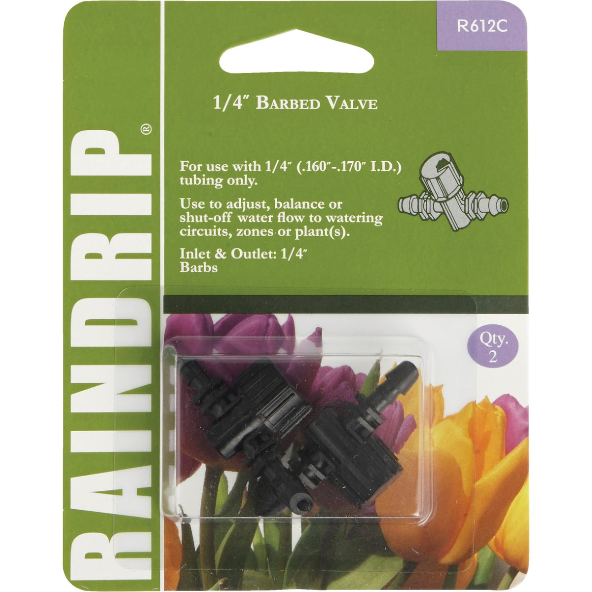 "1/4""DOUBLE BARBED VALVES - R612CT by Raindrip Inc"