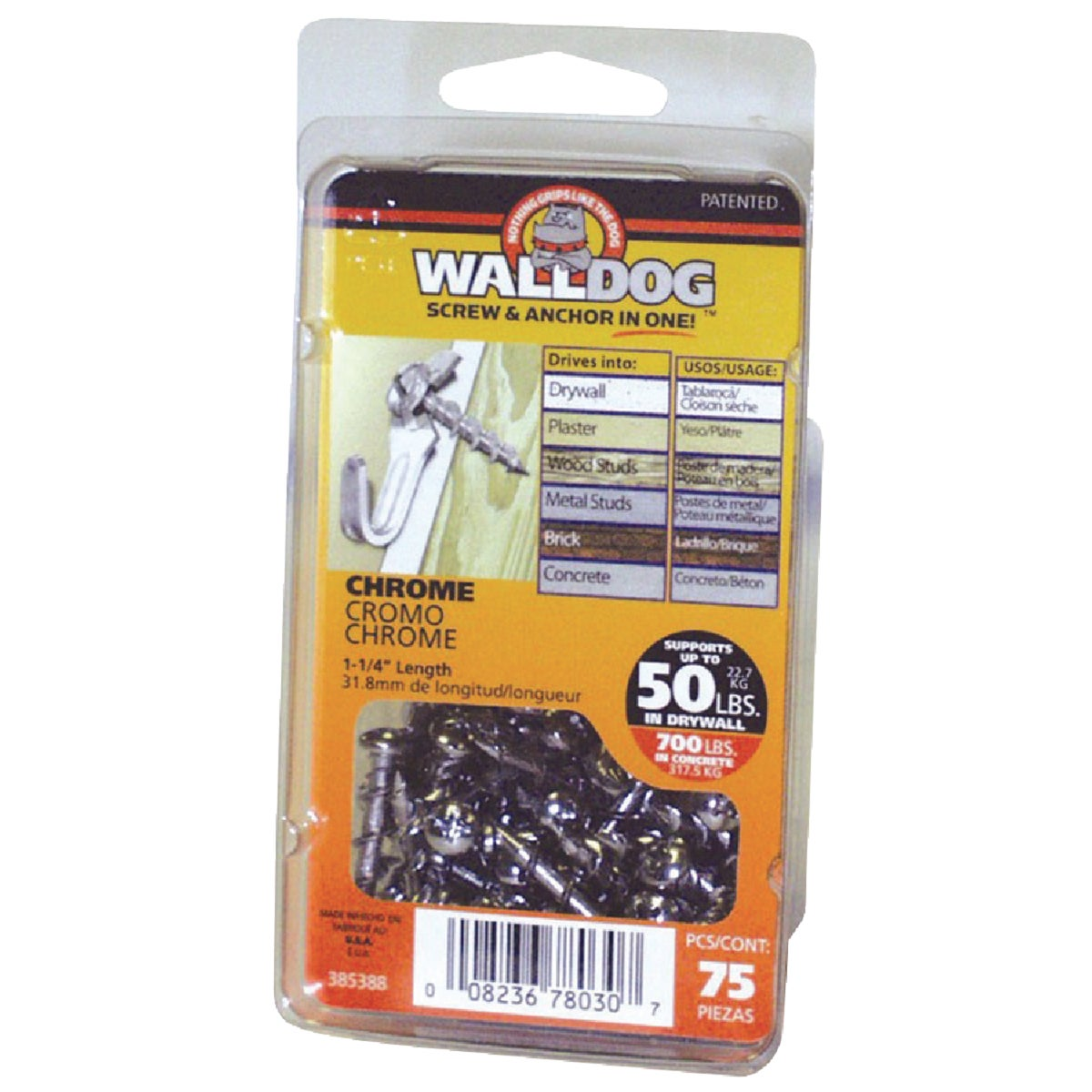 1-1/4 WHITE PHP WALLDOG - 385390 by Hillman Fastener