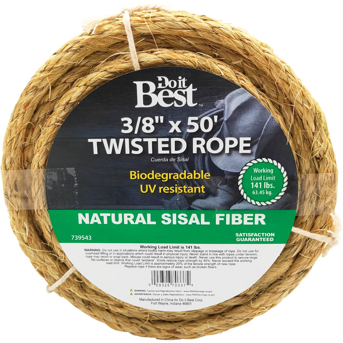 "3/8""X50' TWST SISAL ROPE - 739543 by Do it Best"