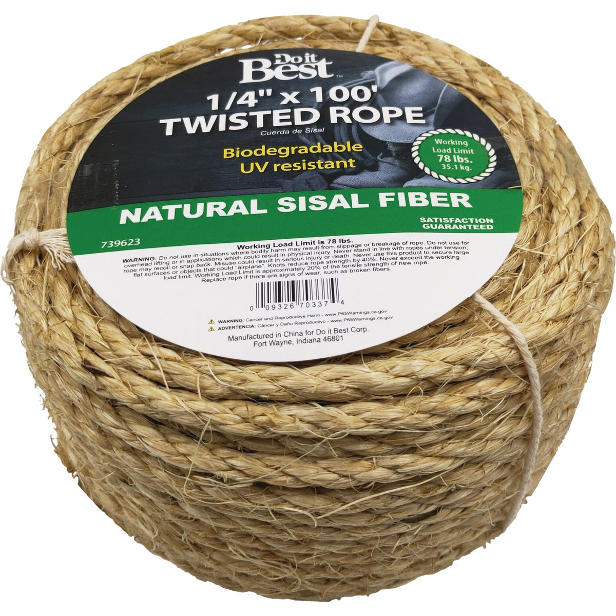 "1/4""X100'TWST SISAL ROPE - 739623 by Do it Best"