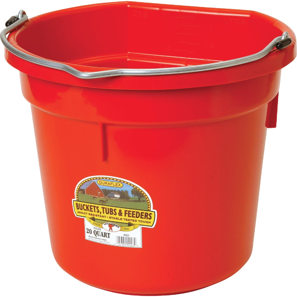 20QT FLAT BACK BUCKET - P20FBRED by Miller Manufacturing