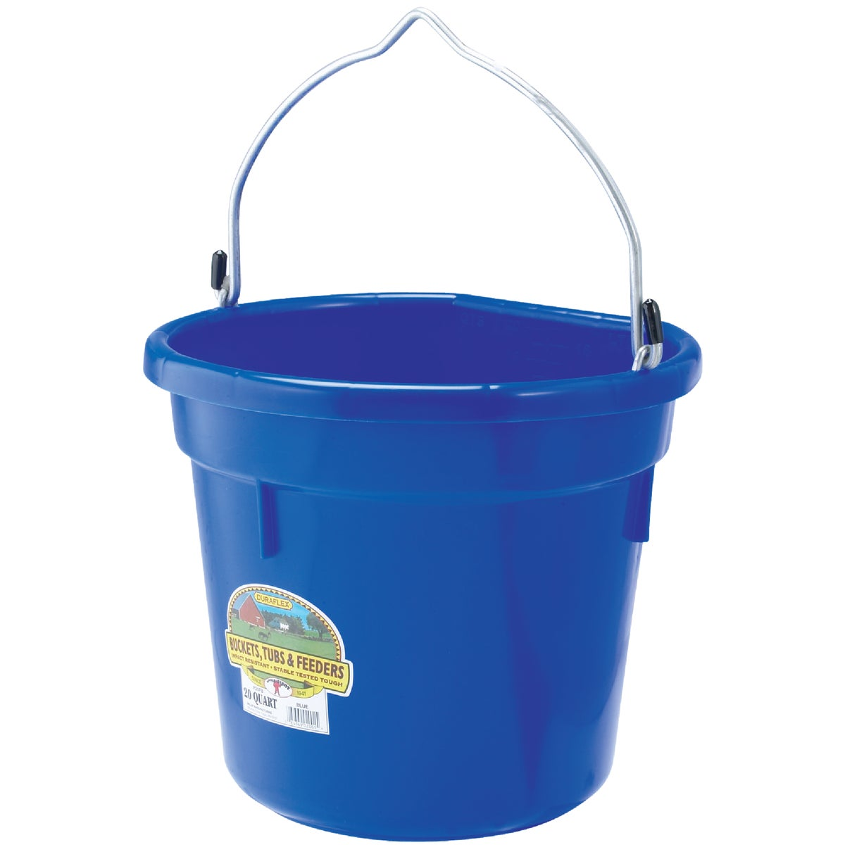 20QT FLAT BACK BUCKET - P20FBBLUE by Miller Manufacturing