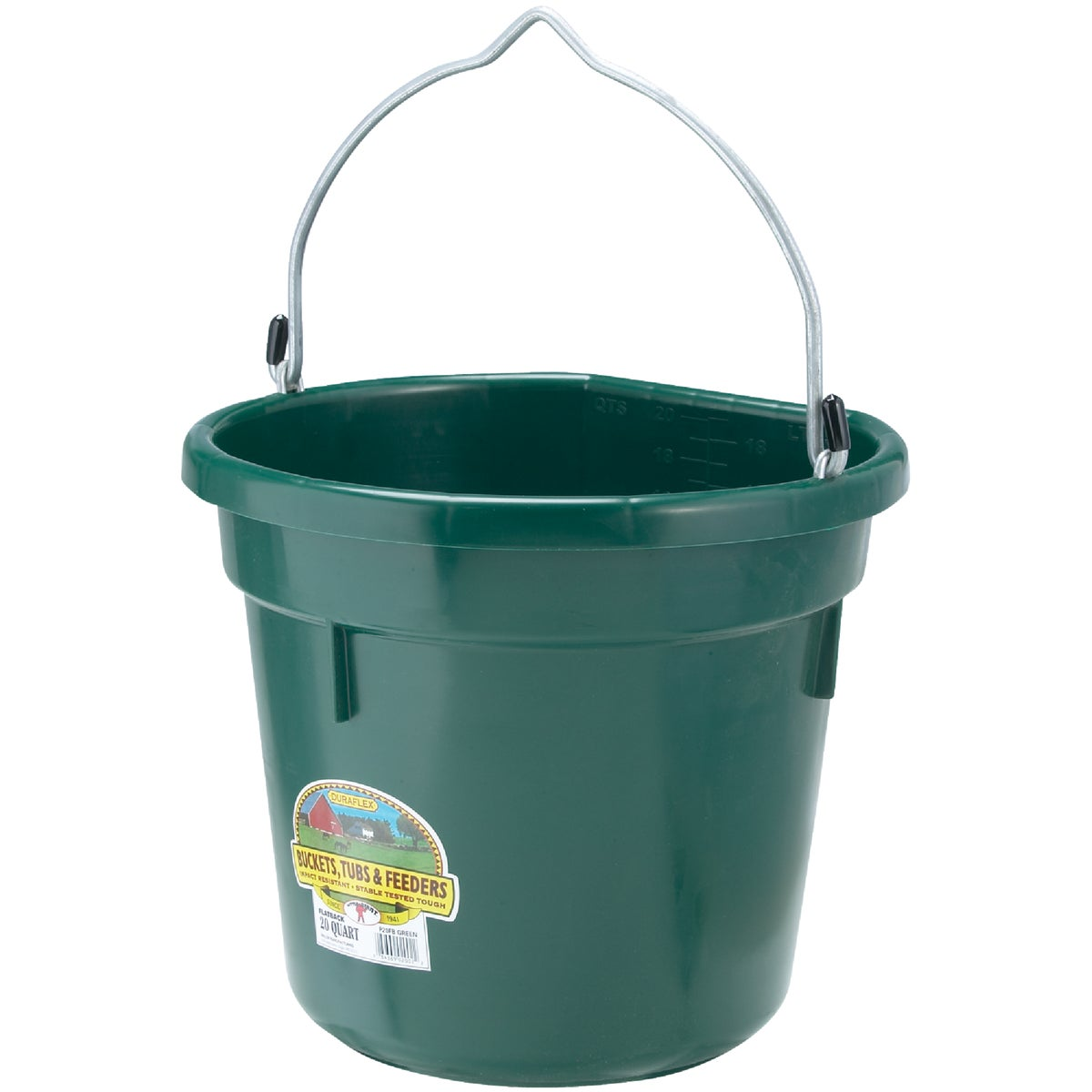 20QT FLAT BACK BUCKET - P20FBGREEN by Miller Manufacturing