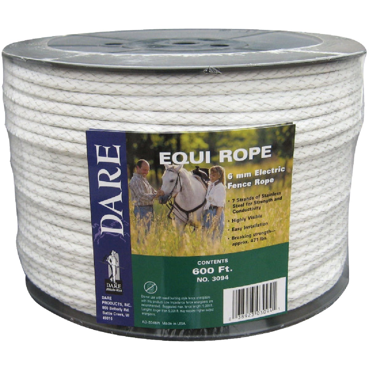 6MMX600' EQUINE POLYROPE - 3094 by Dare Products Inc