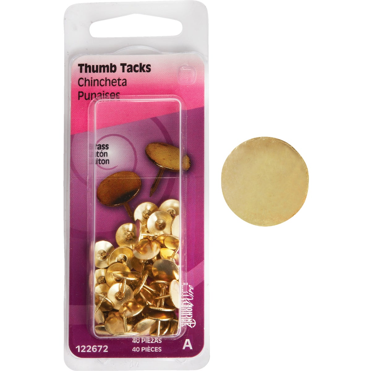 40PC BRS THUMB TACK