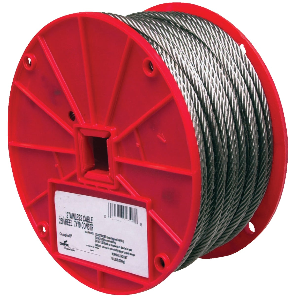 "250' 1/4"" 7X19 SS CABLE - 7000826 by Cooper Campbell Apex"