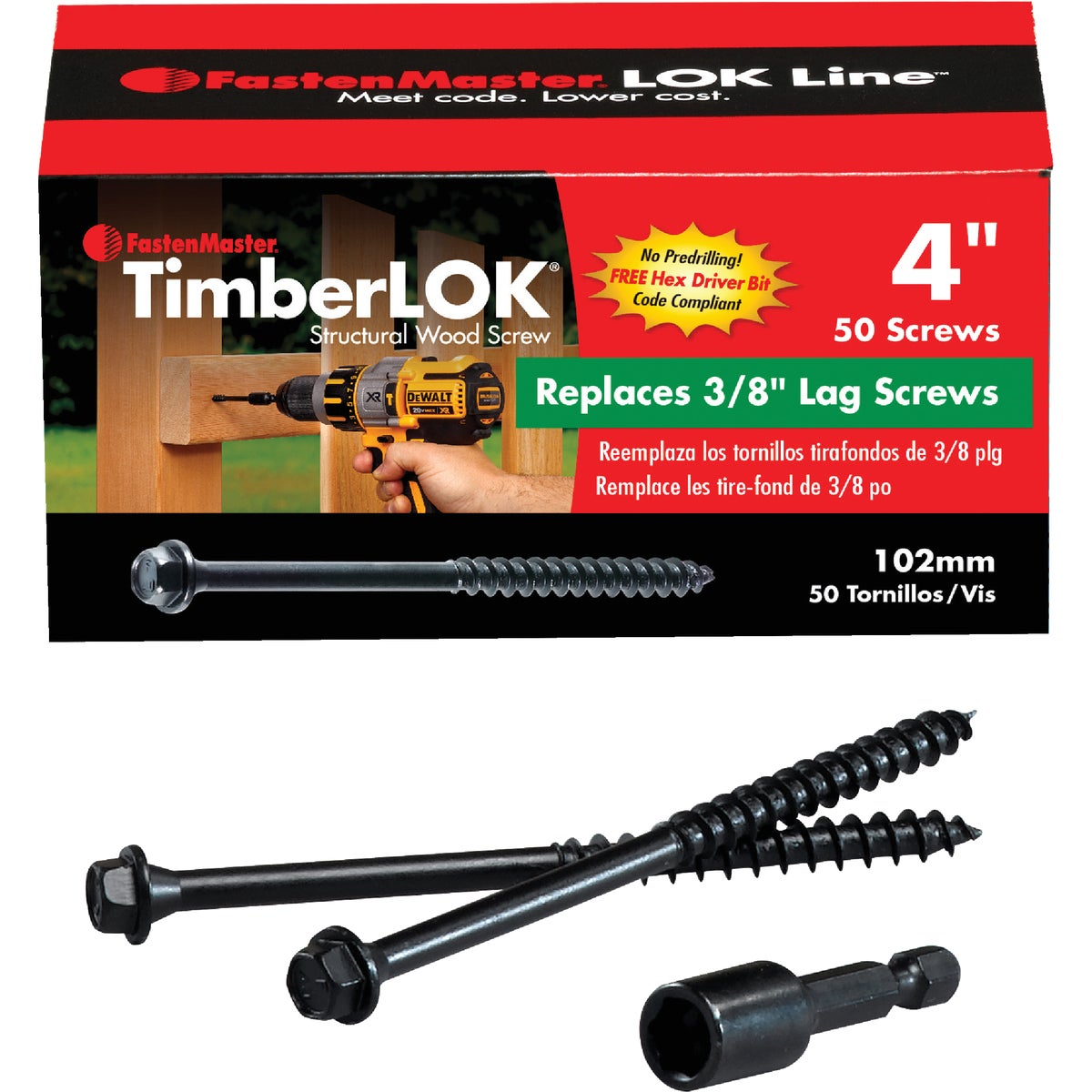 "50PC 4"" TIMBERLOK SCREW - FMTLOK04-50 by Fastenmaster Omg"