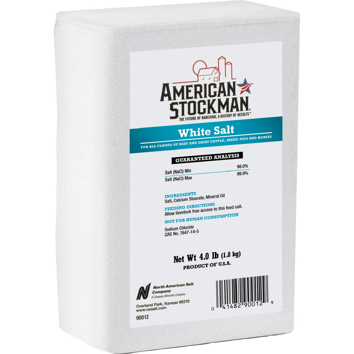 4.4LB PLAIN WHITE BRICK - 90012 by North American Salt