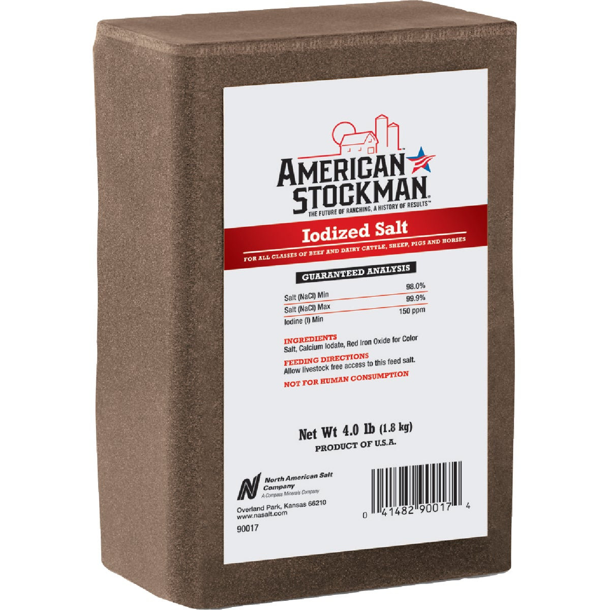 4.4LB IODIZED BRICK - 90017 by North American Salt