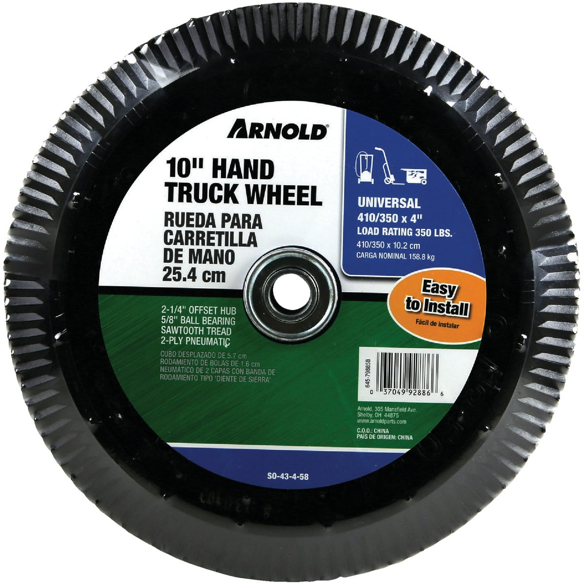 """4.10/3.50X4 TIRE W/4""""RIM - SO-43-4-58 by Arnold Corp"""