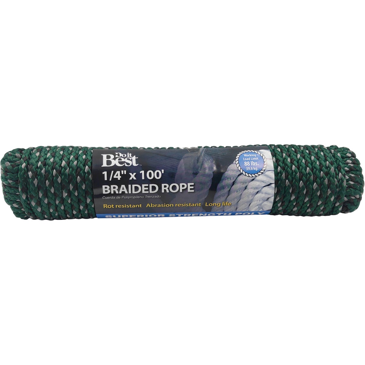 1/4X100'GRN POLYBRD ROPE - 767110 by Do it Best