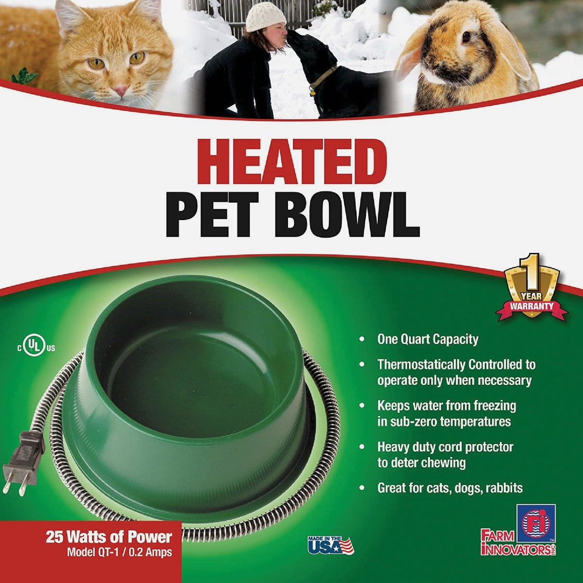 1 QT HEATED PET BOWL - 1B by Miller Manufacturing