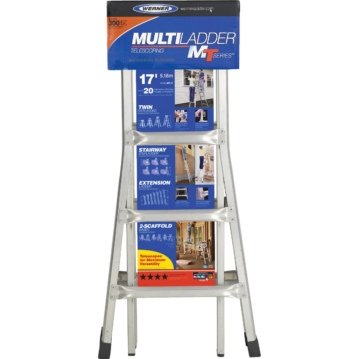 17' ALUM TELESCOP LADDER - MT-17 by Werner Ladder