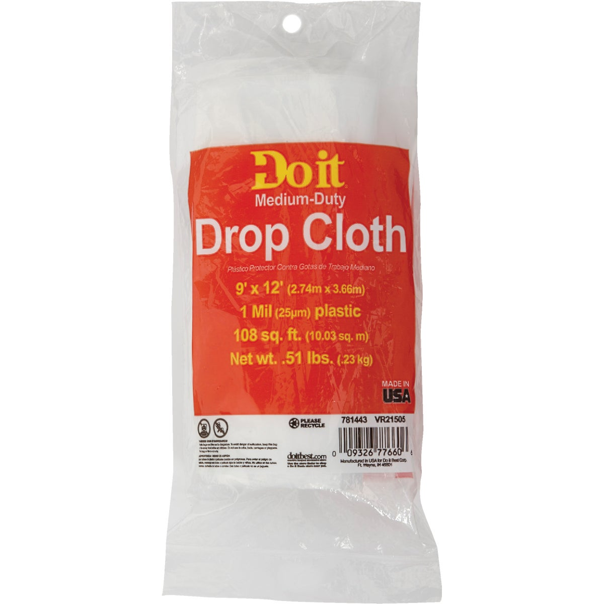 1MIL 9X12 PLS DROP CLOTH - 626215 by Berry Plastics