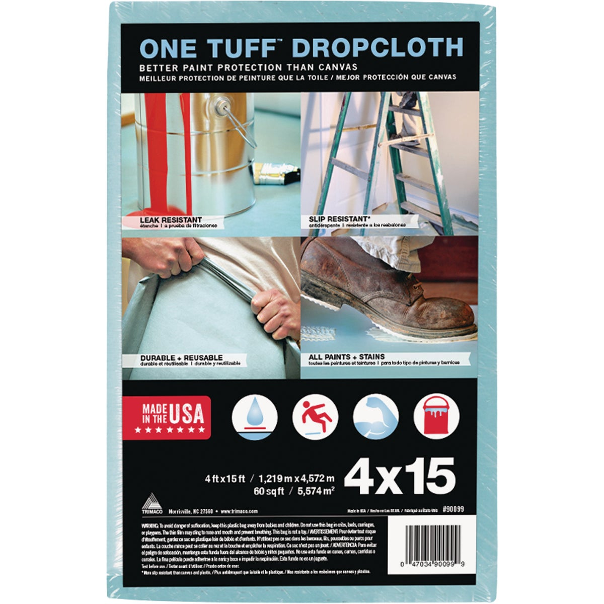 4X15 ONE TUFF DROPCLOTH - 90099 by Trimaco L L C
