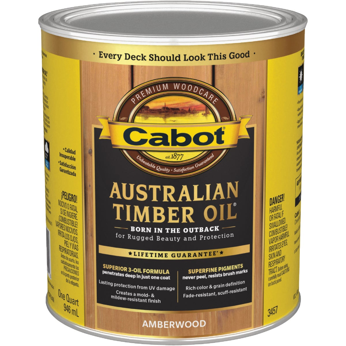 Cabot 04-3457 Australian Timber Oil Penetrating formula, 1 quart, Amberwood
