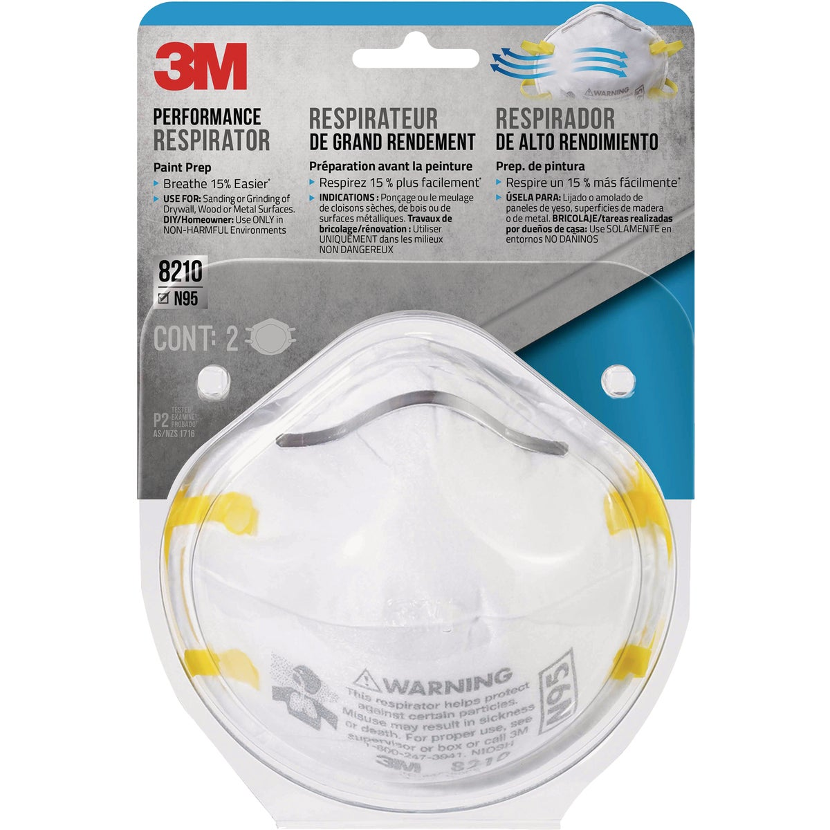 2PK SANDING RESPIRATOR - 8210PA1-A by 3m Co