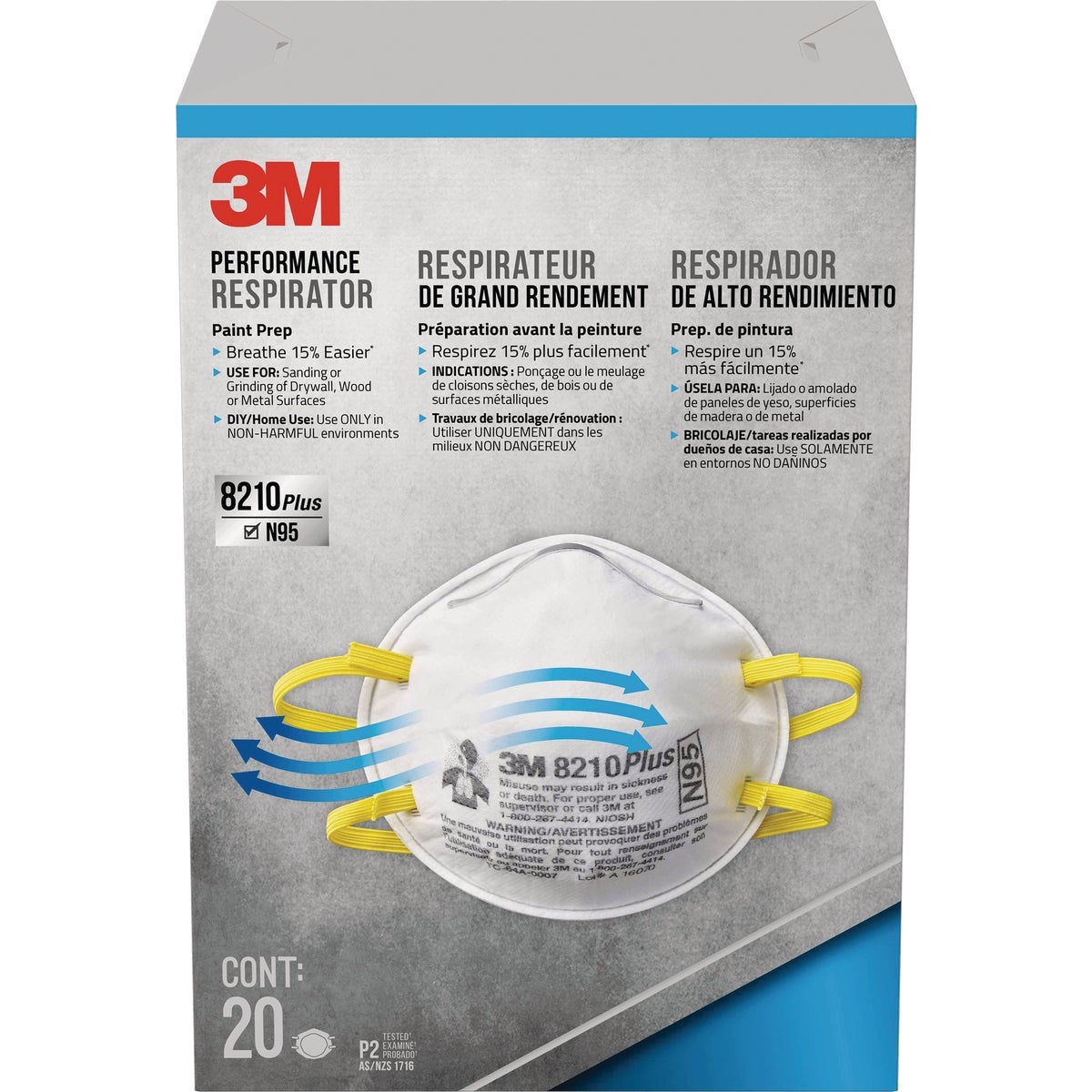 20CT SANDING RESPIRATOR - 8210PB1-A by 3m Co