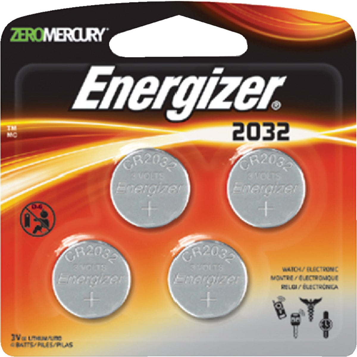 3V LITHIUM 4PK BATTERY - 2032BP-4 by Energizer