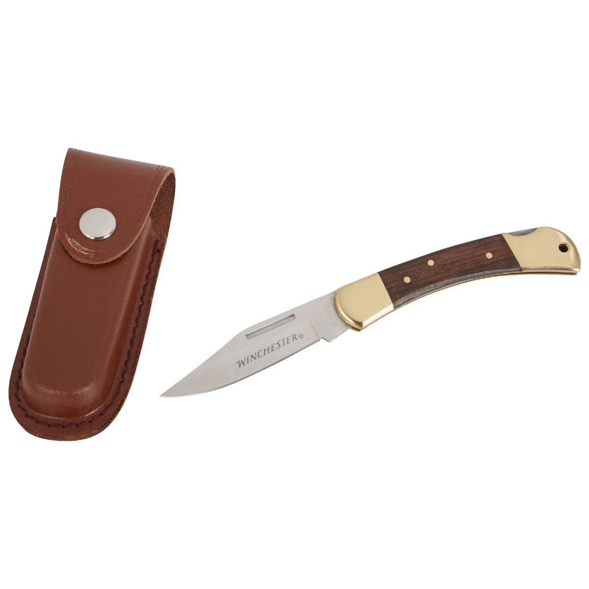 Winchester Brass Folding Knife, 3.25-Inch, Leather Sheath [22-41323]