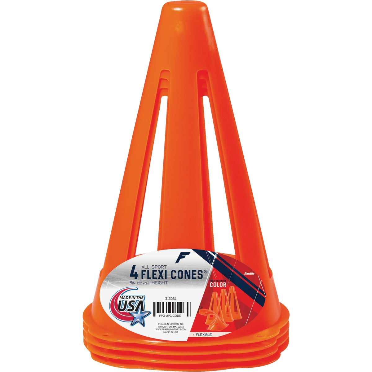 "4PK 9"" SAFETY CONES - 3130S1 by Franklin Sports"