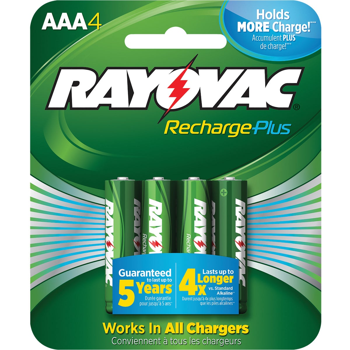 4PK AAA RECHARGE BATTERY - PL724-4B by Ray O Vac