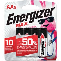 Energizer Max AA Alkaline Battery, E91MP-8
