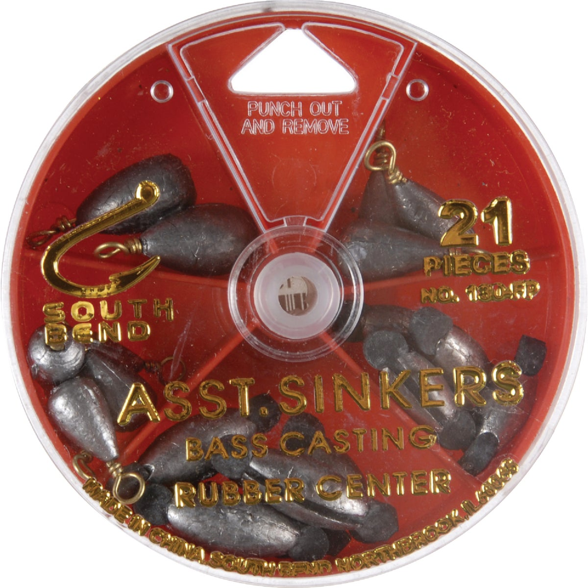 CTR/BASS RUBBER SINKERS - 130FP by South Bend Sptg Good