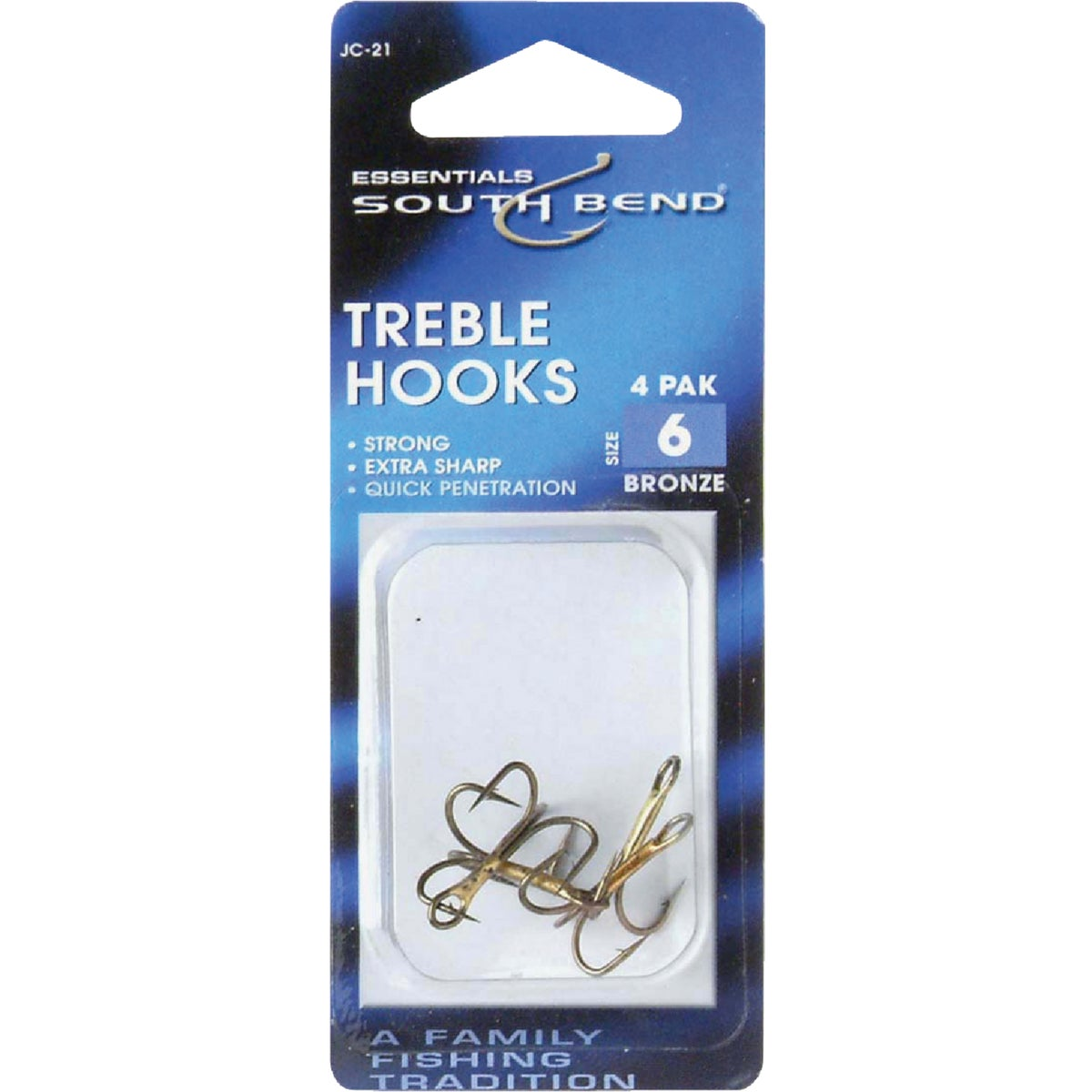 SZ 6 TREBLE HOOKS - JC21 by South Bend Sptg Good