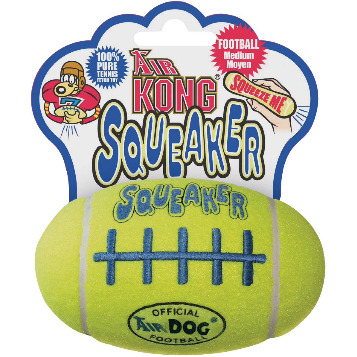 KONG Air Dog Squeaker Football Dog Toy, Medium, Yellow