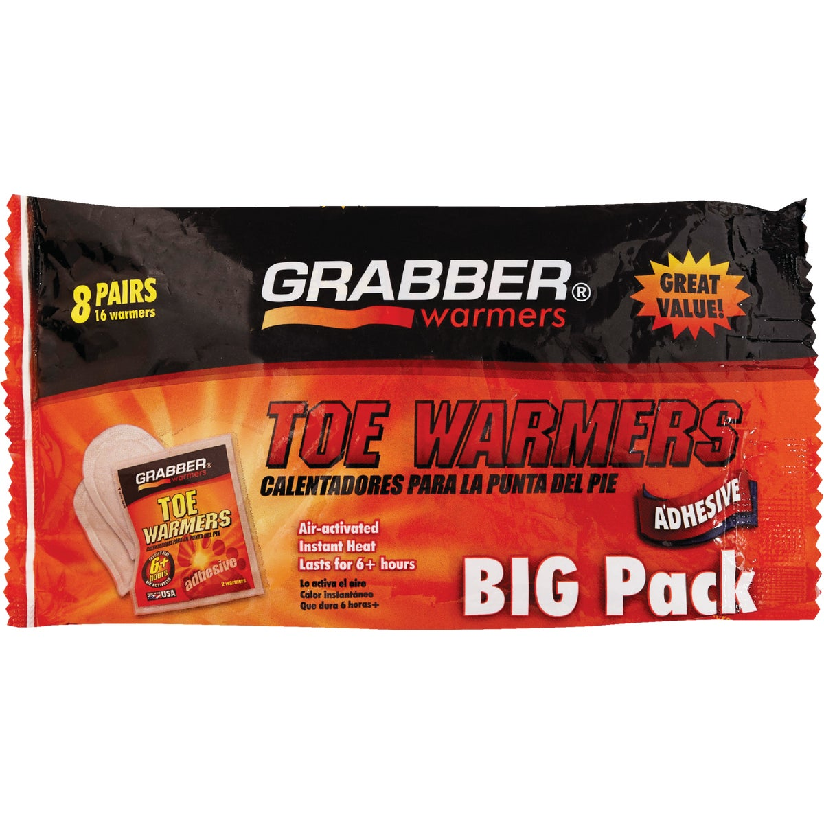 Grabber Warmers Air Activated Toe Warmer 8 Pair/Pack