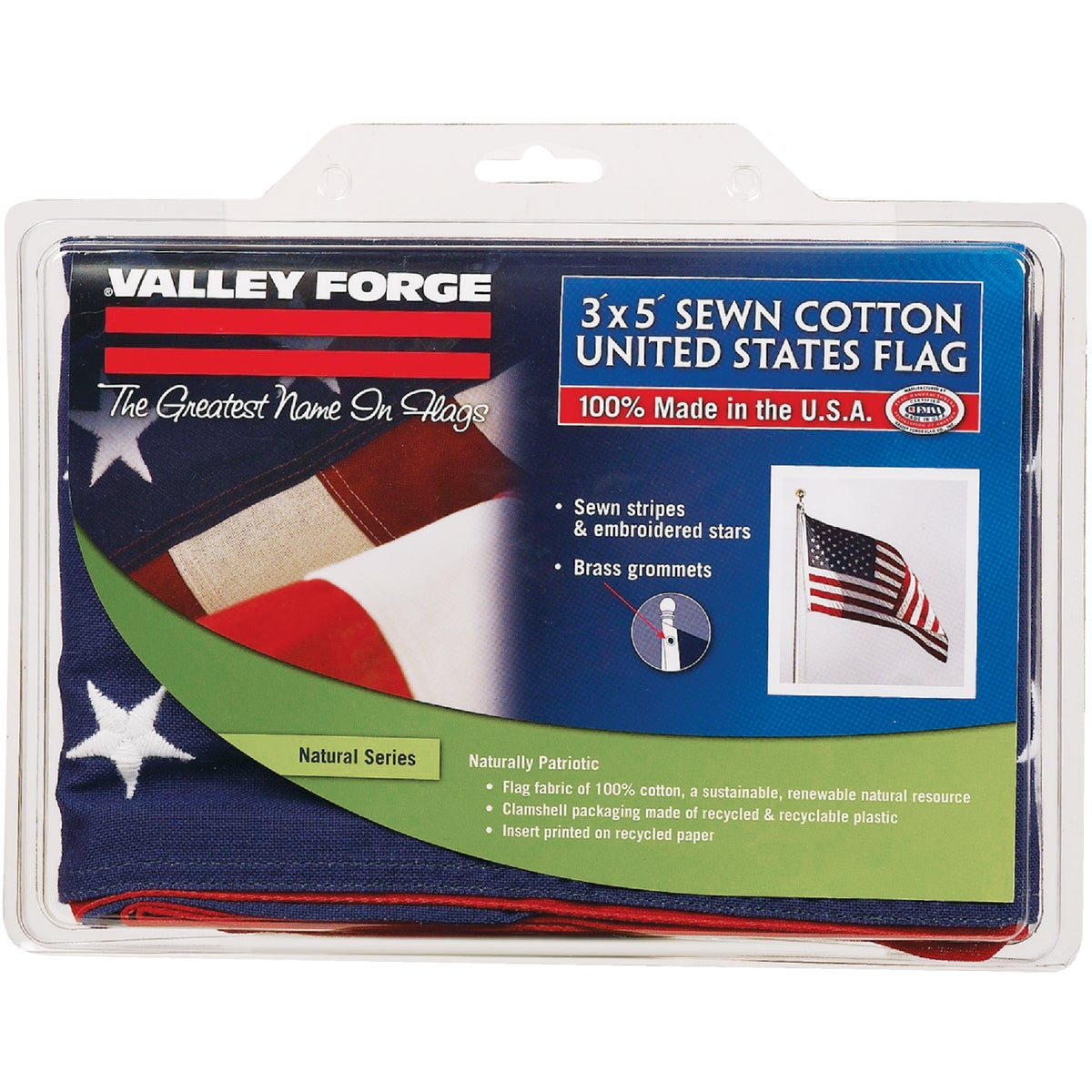 Valley Forge 3X5 COTTON USA FLAG USB3