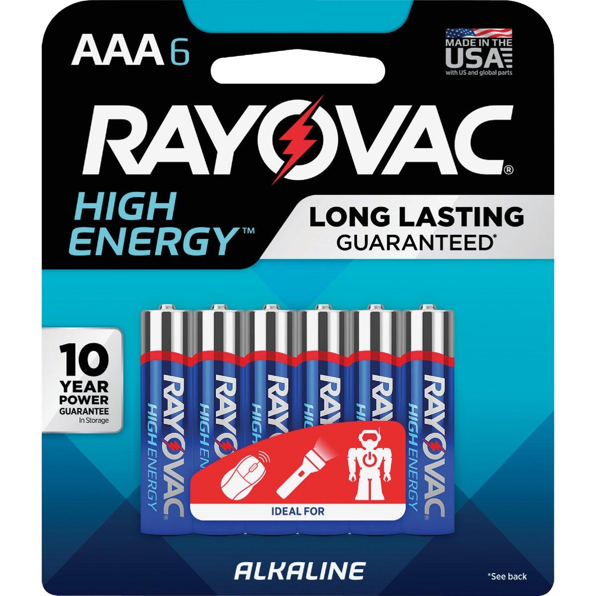 6PK AAA ALKALINE BATTERY - 824-6F by Ray O Vac