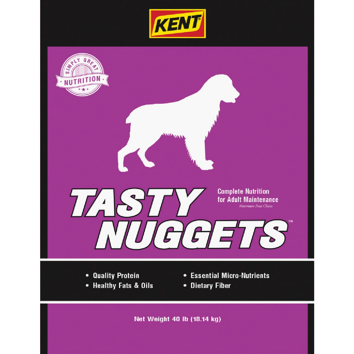 40LB TASTY NUGT DOG FOOD - 7866 by Kent Feeds Inc
