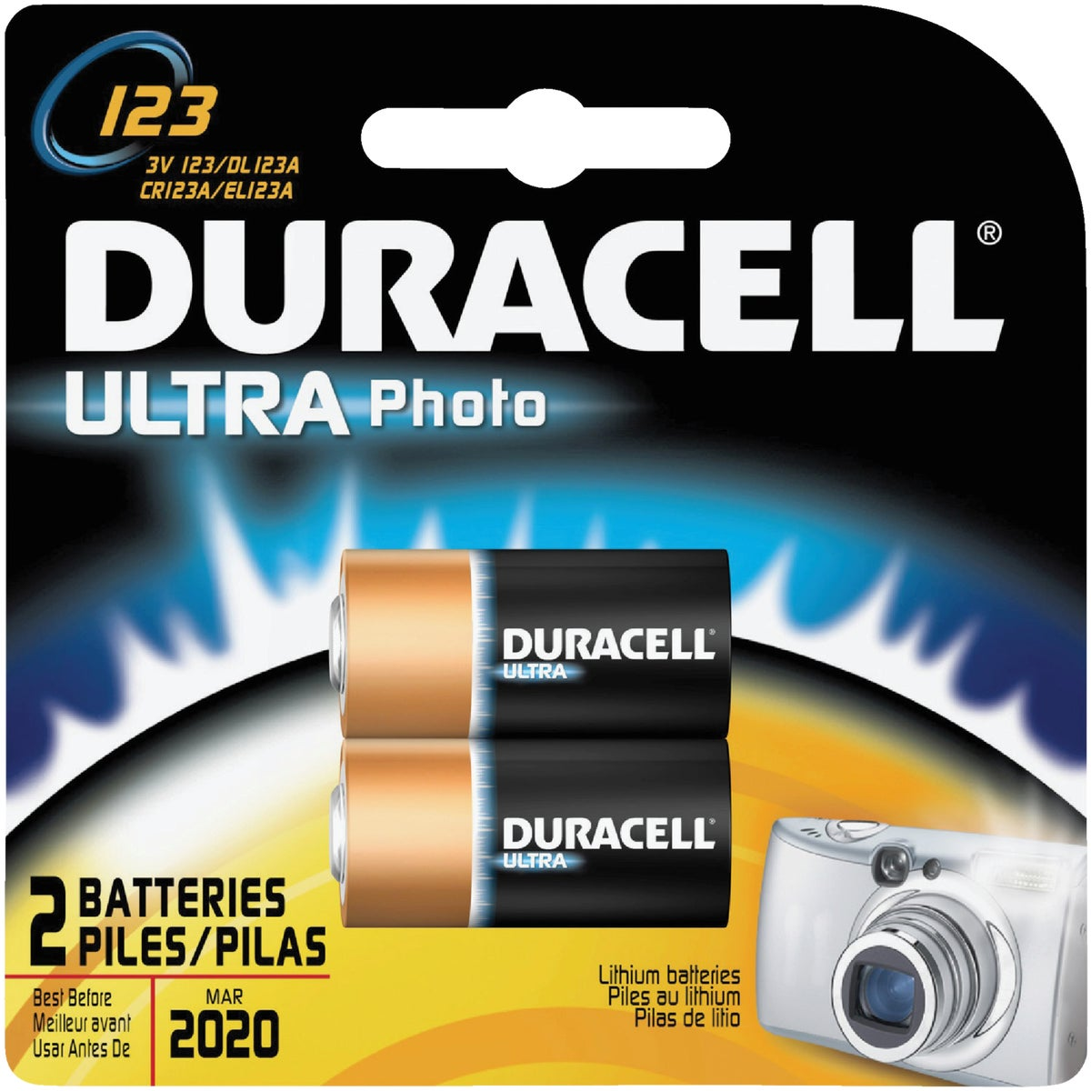 2PK DL123 3V CAM BATTERY - DL123ABPK by P & G  Duracell