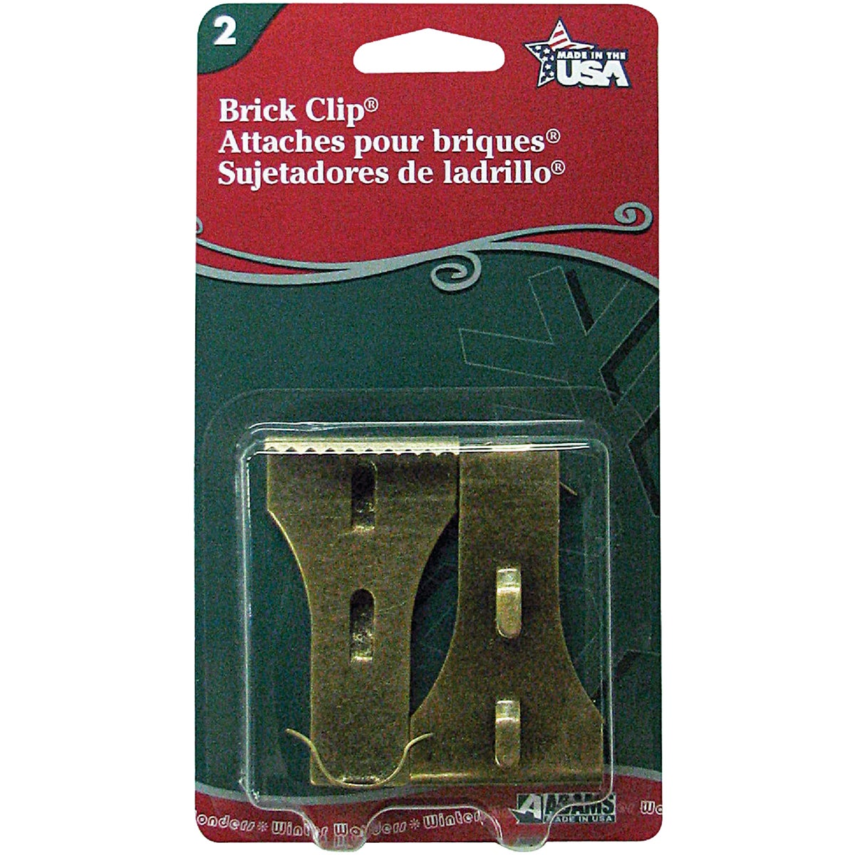 2PK BRICK CLIP - 1450991040 by Adams Mfg/christmas