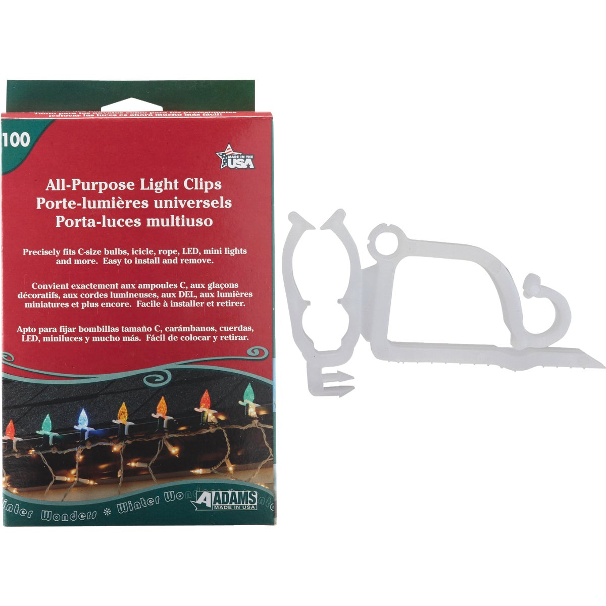 100PK LIGHT CLIP - 9040991634 by Adams Mfg/christmas