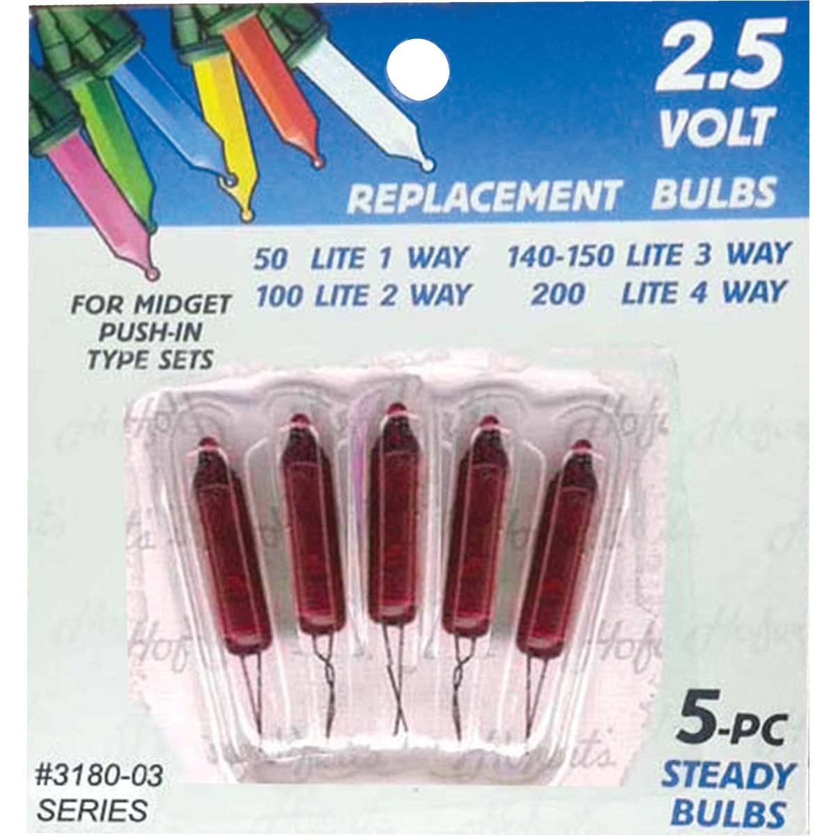5PK 2.5V RED BULB - 3180-03 by J Hofert-y