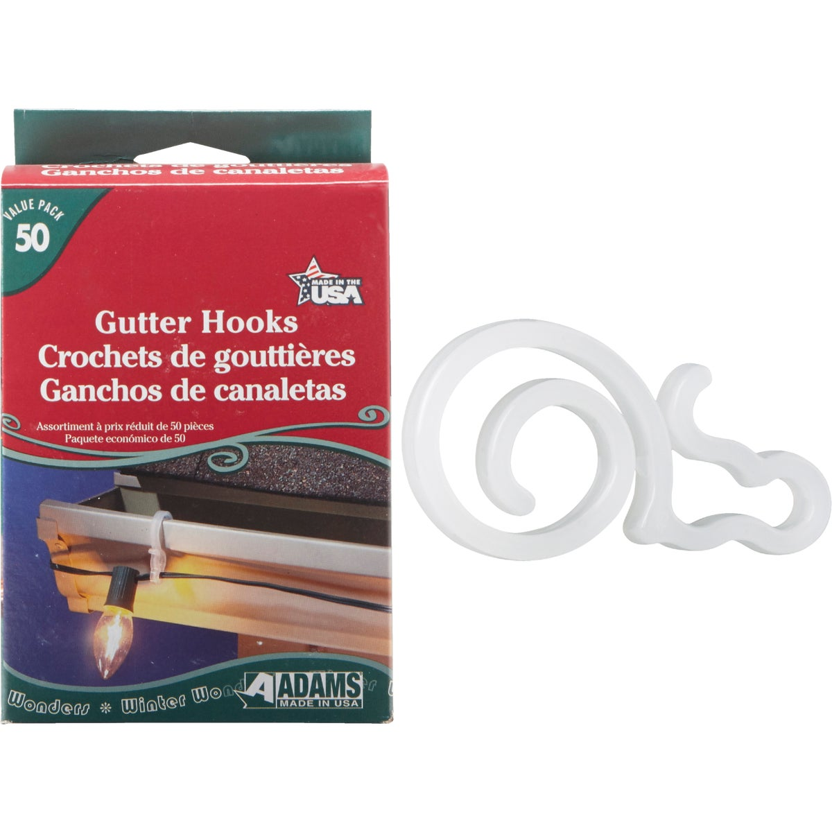 50PK GUTTER HOOKS - 2460991633 by Adams Mfg/christmas