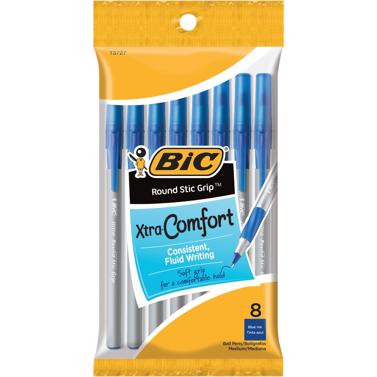 8PK BLUE RND GRIP PEN