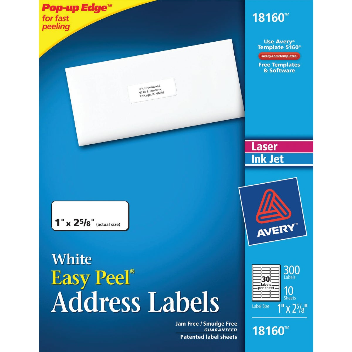 300PK 1X2-5/8 MAIL LABEL